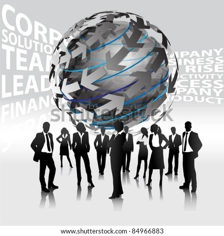business people team with abstract symbol-vector - stock vector