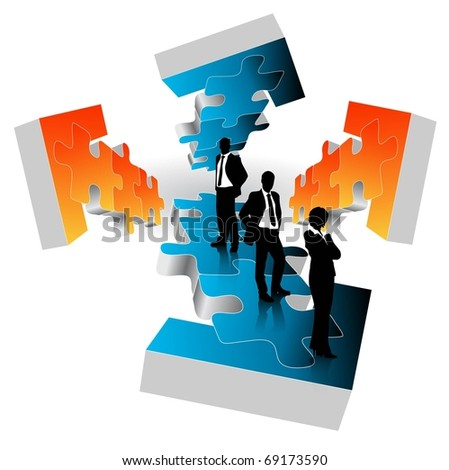 business people team with arrows-vector - stock vector