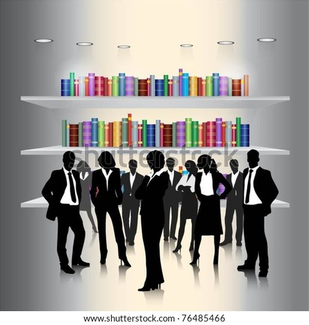 business people team with book collection-vector