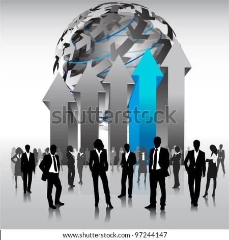business people team with 3d arrows-vector - stock vector