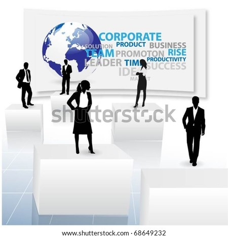 business people team with 3d cubes - stock vector