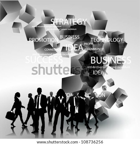 Business people team with 3d cubes vector - stock vector