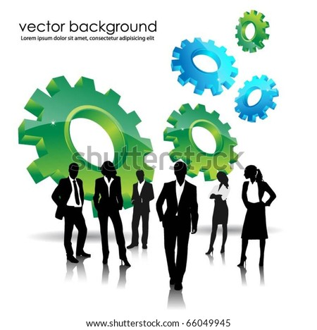 business people team with 3d gears - stock vector