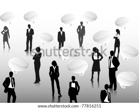 business people team with 3d speech bubbles-vector - stock vector