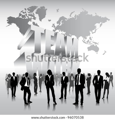 business people team with 3d team work background.vector - stock vector