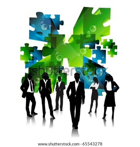 business people team with 3d vector puzzle pieces - stock vector