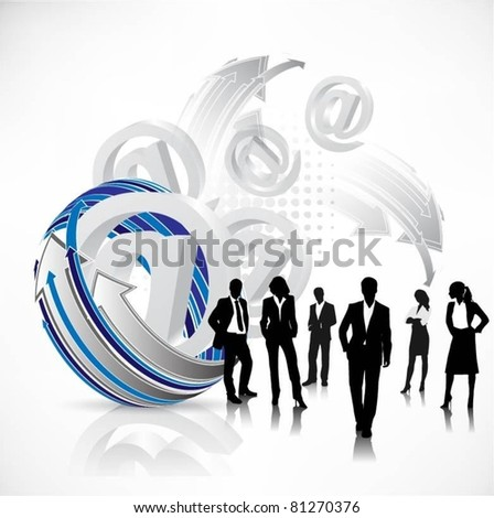 business people team with email signs-vector - stock vector