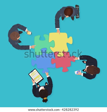 Business People team with gadgets and devices with jigsaw puzzle pieces. Finance solution concept.