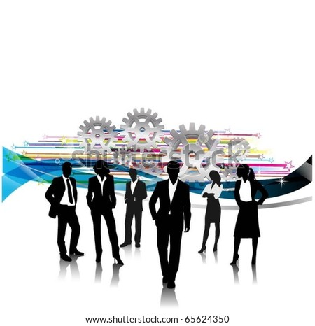business people team with gears - stock vector