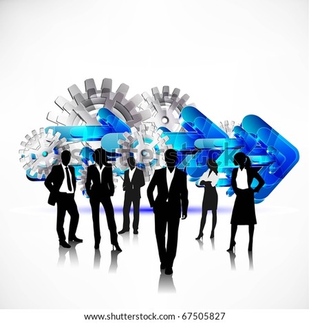 business people team with gears and arrows vector - stock vector