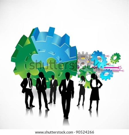 business people team with gears.vector - stock vector