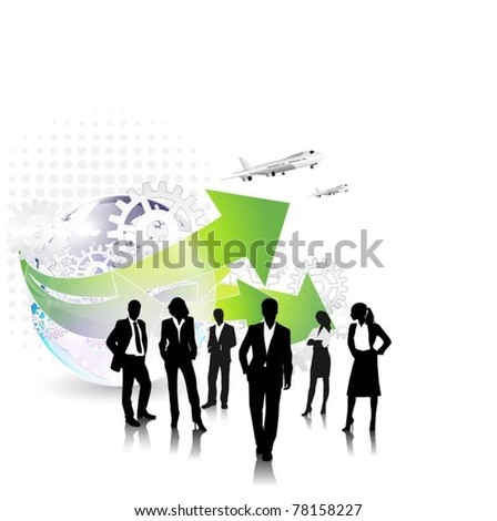 business people team with globe and airplane-vector - stock vector