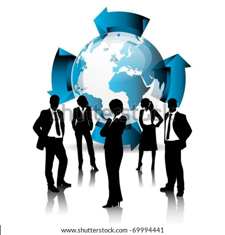 business people team with globe and 3d arrows-vector - stock vector