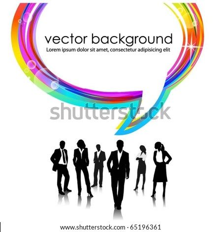 business people team with speech bubble - stock vector