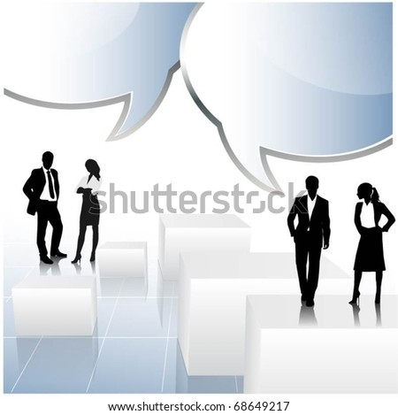 business people team with speech bubbles