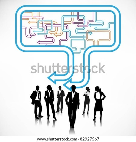 business people team with speech bubbles - stock vector