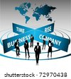 business people team with world map-vector - stock