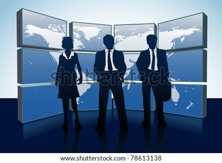 Business people teams standing in front of world map monitor wall - stock vector