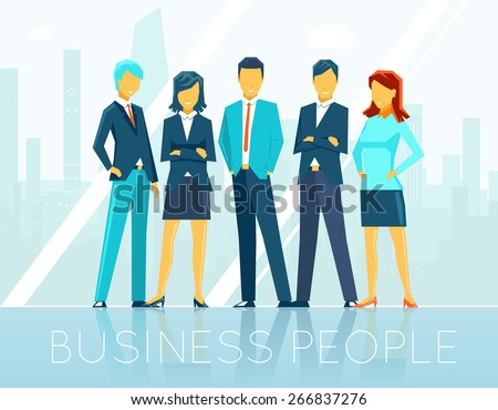 Business people. Teamwork and person, team communication, discussion seminar, vector illustration - stock vector