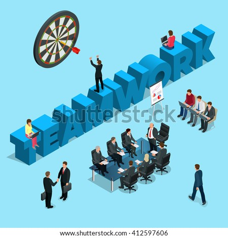 Business people teamwork. Business start up work moments flat icons collection with meeting planning presentation brainstorming teamwork and success isolated vector illustration