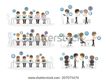 Business People Using Tablet In The Office - Isolated On White Background - Vector Illustration, Graphic Design Editable For Your Design. Team Working In Office - stock vector