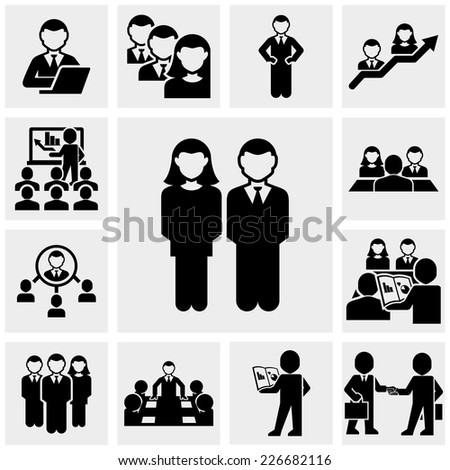 Business people vector icons set on gray - stock vector