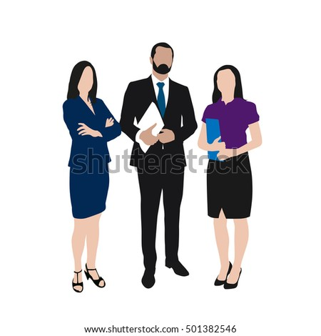 Business people vector illustration. Group of two women and one man at work. Set of people at work