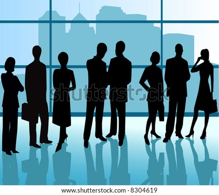 Business People - vector silhouette illustration - stock vector