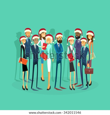 Business people Wear Santa Hat Merry Christmas And Happy New Year Office Business People Team Flat Concept Vector Illustration - stock vector