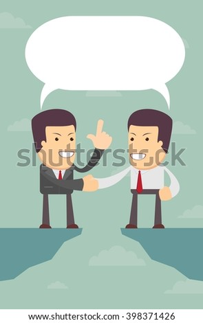 Business people were able to negotiate the gap, vector illustration - stock vector
