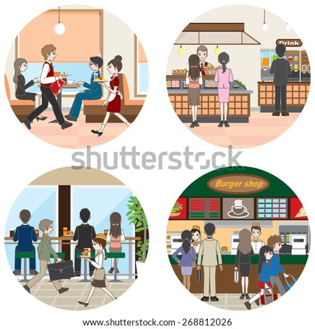 Business / People who enjoy a meal - stock vector