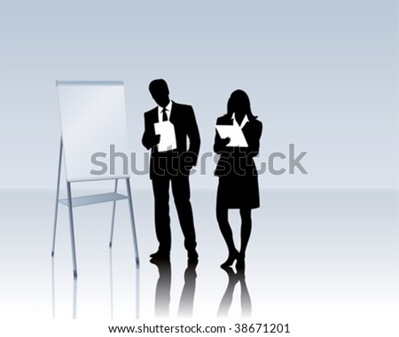business people with a flipchart - stock vector
