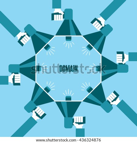 Business people with a megaphone yelling, Domain - illustration - stock vector