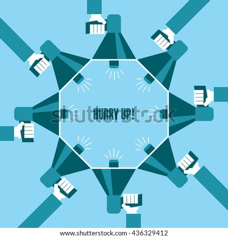 Business people with a megaphone yelling, Hurry Up! - illustration - stock vector