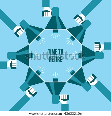 Business people with a megaphone yelling, Time To Retire - illustration - stock vector