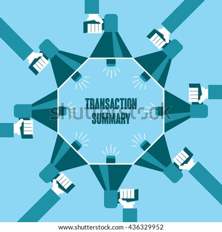 Business people with a megaphone yelling, Transaction Summary - illustration - stock vector