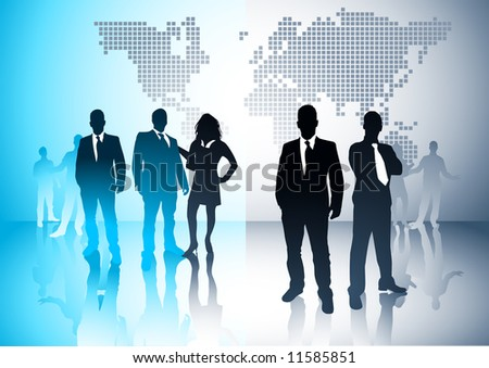 Business people with a world in the background. Vector illustration. - stock vector