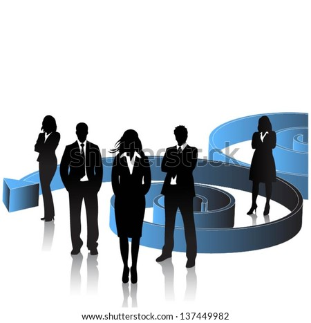 Business people with arrow background