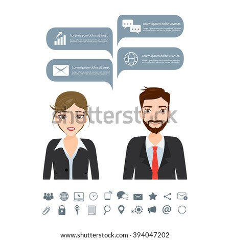 Business people with bubble speech talking.Chatting message. - stock vector