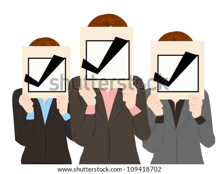 business people with check mark approved collection vector - stock vector