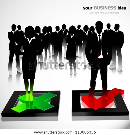 Business people with check mark symbols. Vector illustration