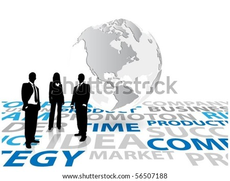business people with globe - stock vector