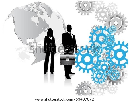 business people with globe and gears