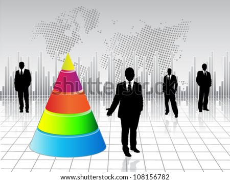 Business people with Layered pyramids - stock vector