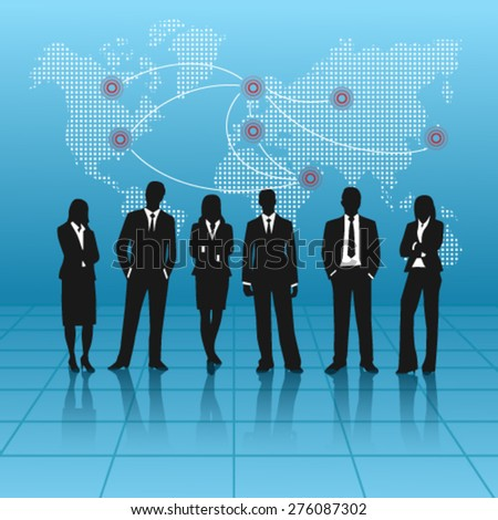 Business People with World Map - Illustration  - stock vector