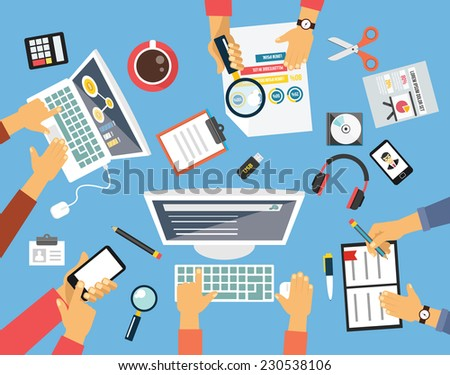 Business people. Workplace flat illustration icon set - stock vector