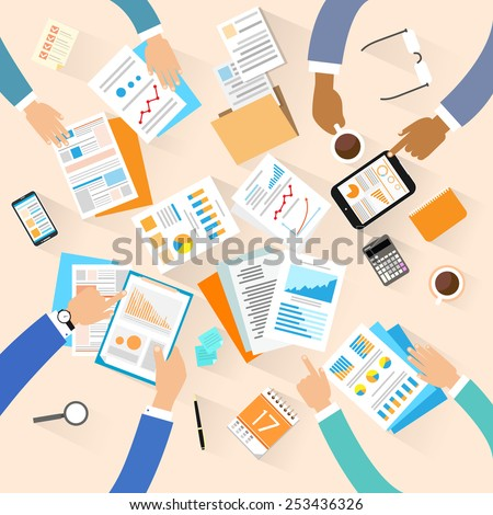 Business people workplace top angle above view creative team working sitting at office desk vector illustration flat design - stock vector