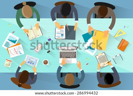 Business People Workplace Top Angle Above View Team Sitting Office Desk Work Flat Vector Vllustration - stock vector