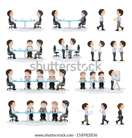 Business Peoples - Isolated On White Background - Vector Illustration, Graphic Design Editable For Your Design. Team Working In Office - stock vector