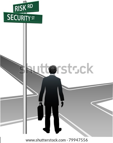 Business person choose future direction at life crossroads risk security choice - stock vector